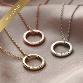 Three 9ct gold mini message necklaces
