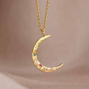 crescent moon necklace set with birthstones