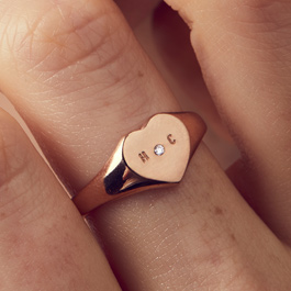 Birthstone Heart Signet Ring