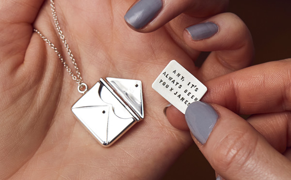 silver envelope necklace with personalised note