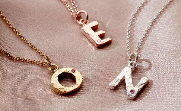 ruby birthstone letter necklace