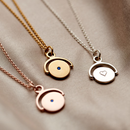 Personalised Mini Spinner Birthstone Necklace