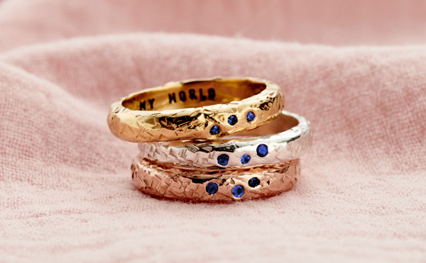 sapphire birthstone textured confetti ring