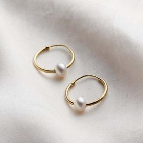 9ct Gold Pearl Hoop Earrings