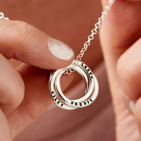 personalised Russian ring silver necklace
