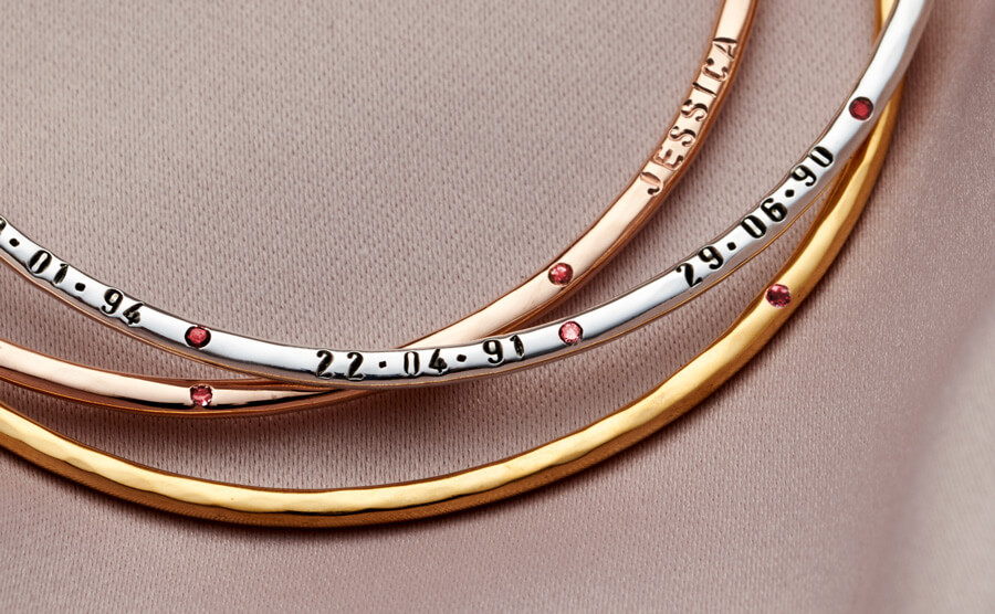 personalised birthstone bangle in silver, gold and rose gold