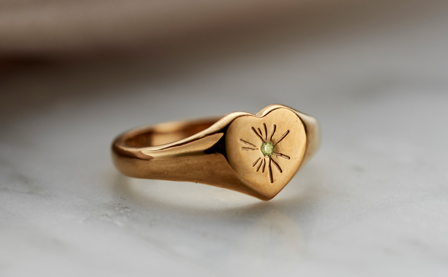 gold Heart signet ring set with peridot birthstone