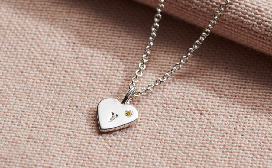 personalised heart charm with citrine birthstone