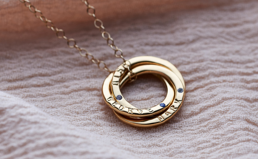 gold russian ring necklace set with sapphires