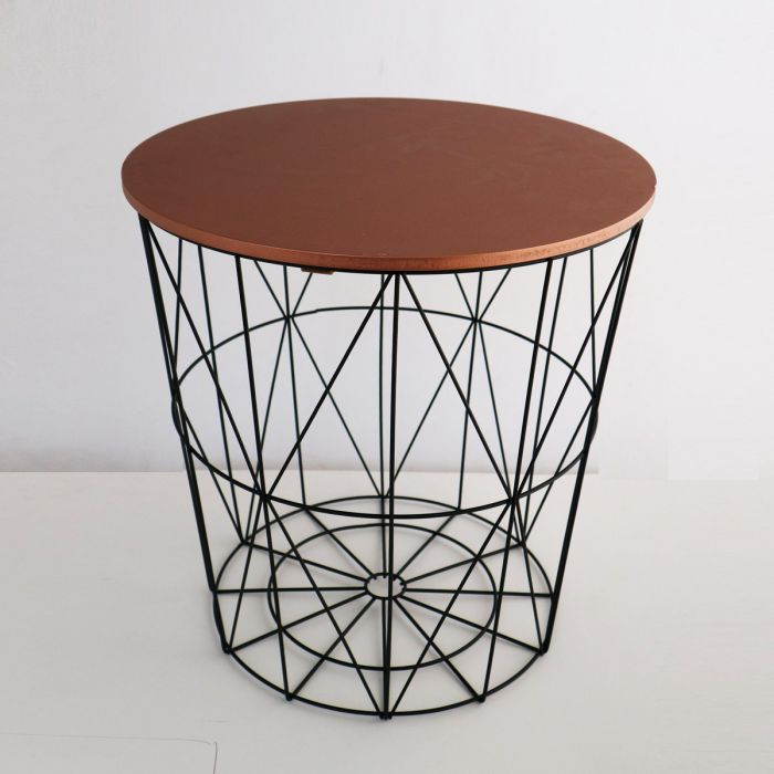 Black Wire And Copper Side Table