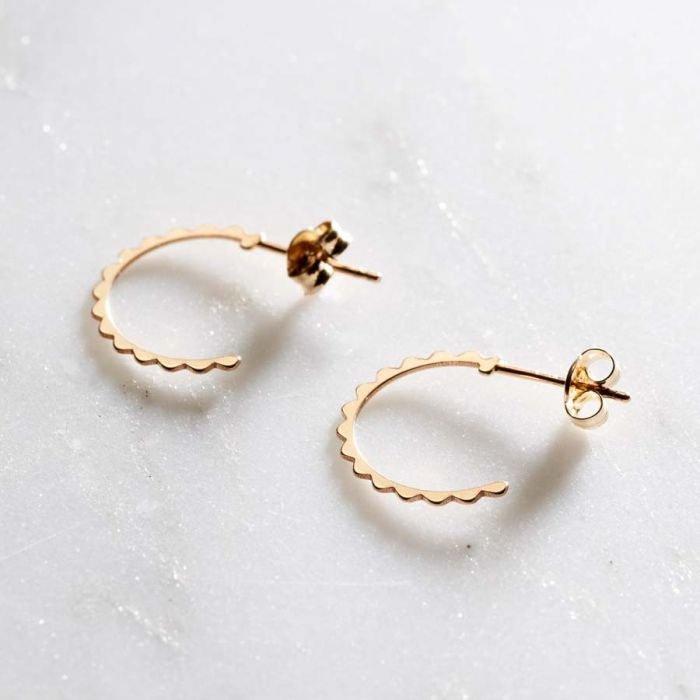 9ct Gold Scalloped Hoop Earrings Posh Totty Designs