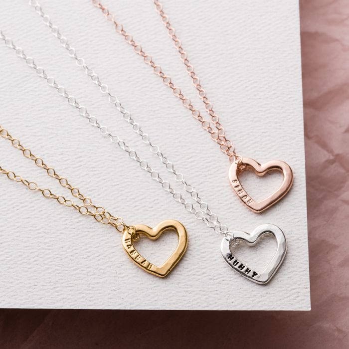 Personalised Silver /& Rose Plated Heart Charms for Jewellery Bridesmaid Wedding