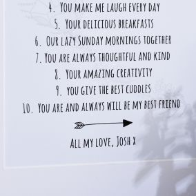 Personalised '10 Things I Love About You' Print