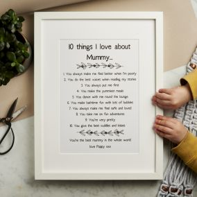 Personalised 10 Things I Love About Mummy Print