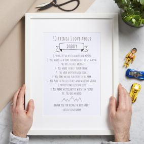 Personalised 10 Things I Love About Daddy Print