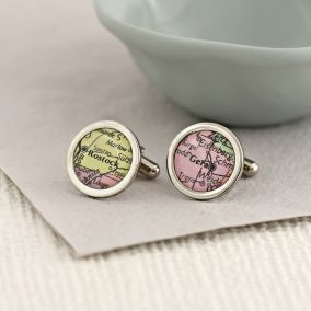 Personalised Round Vintage Map Cufflinks