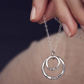 Personalised Double Circle Drop Necklace