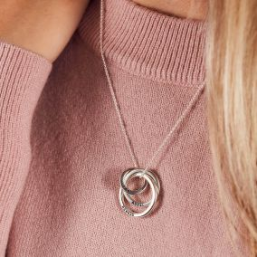 Personalised Family Names Russian Ring Necklace