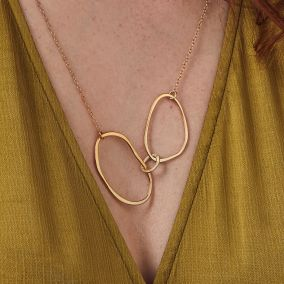 Fine Organic Personalised Interlinking Hoops Necklace