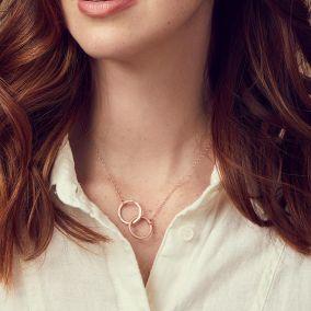 Personalised Textured Medium Double Hoop Necklace