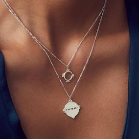 Personalised Cluster Crown Disc Necklace