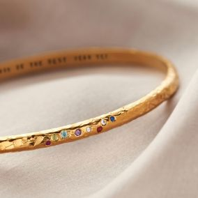 Personalised Textured Confetti Birthstone Bangle
