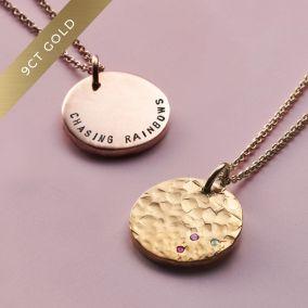 9ct Gold Confetti Birthstone Disc Necklace