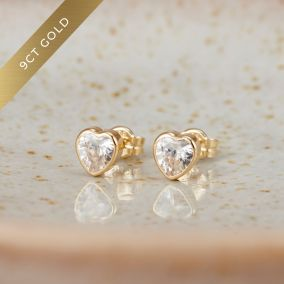 Heart 9ct Gold Stud Earrings with Cubic Zirconia