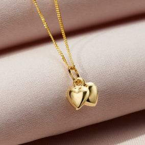 9ct Gold Double Heart Charm Necklace