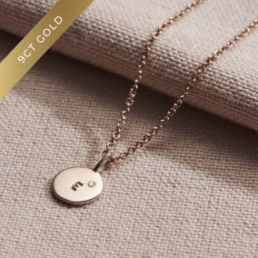 9ct Gold Mini Disc Initial Birthstone Necklace