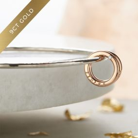 Personalised 9ct Gold & Silver Diamond Mini Circle Bangle