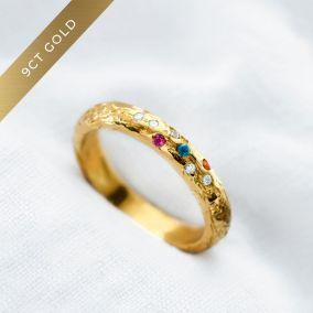 Personalised 9ct Gold Diamond & Birthstone Confetti Ring