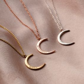 Personalised 9ct Gold Crescent Moon Necklace