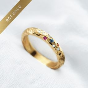 Personalised 9ct Gold Diamond & Birthstone Confetti Ring