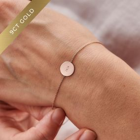Personalised 9ct Gold Message Disc Bracelet