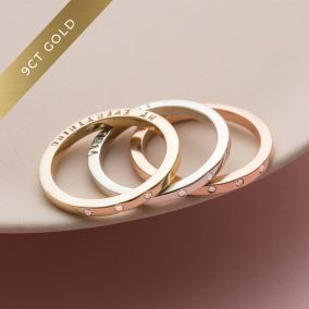 Personalised 9ct Gold Triple Diamond Eternity Ring Set