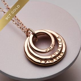 Personalised 9ct Gold Family Names Necklace