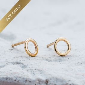 9ct Gold Fine Geometric Circle Earrings