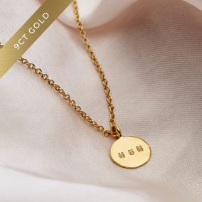 Personalised 9ct Gold Mini Hammered Disc Necklace