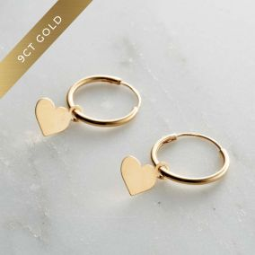 9ct Gold Heart Charm Hoop Earrings