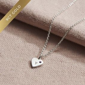 9ct Gold Mini Heart Initial Birthstone Necklace