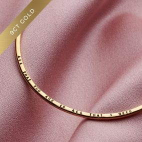Personalised 9ct Gold Message Bangle
