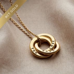 Personalised 9ct Gold Mini Russian Ring Necklace
