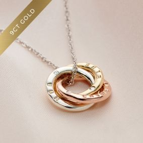 Personalised 9ct Mixed Gold Diamond Mini Russian Ring Necklace
