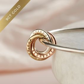 Personalised Tricolore 9ct Gold & Silver Russian Ring Charm Bangle