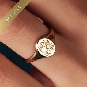 9ct Personalised Monogrammed Signet Ring