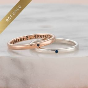 Personalised 9ct Gold Sapphire Stacker Ring