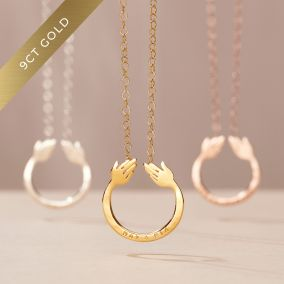 Personalised 9ct Gold Share A Hug Necklace