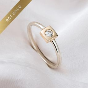 9ct Gold Square Diamond Engagement Ring