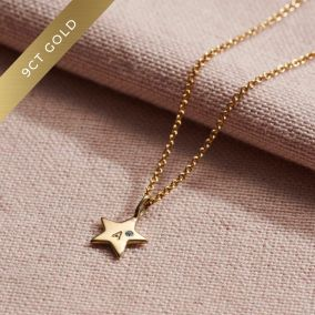9ct Gold Mini Star Initial Birthstone Necklace